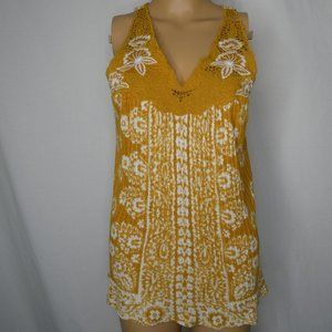 Lucky Brand Floral Lace Yolk Tank Top Mustard Sm